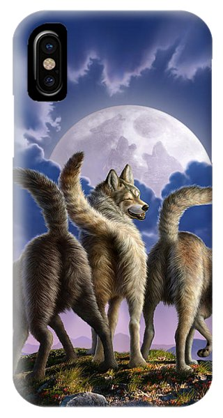 Funny iPhone Case - 3 Wolves Mooning by Jerry LoFaro