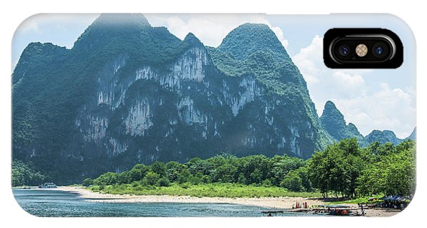 Lijiang River And Karst Mountains Scenery IPhone Case