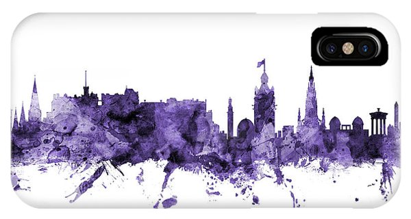 Violet iPhone Case - Edinburgh Scotland Skyline by Michael Tompsett