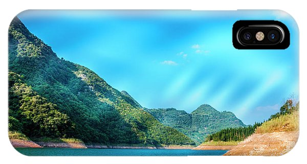 IPhone Case featuring the photograph The Mountains And Reservoir Scenery With Blue Sky by Carl Ning