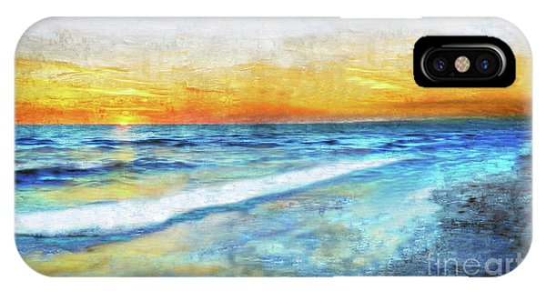 Seascape Sunrise Impressionist Digital Painting 31a IPhone Case