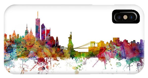 Silhouette iPhone Case - New York Skyline by Michael Tompsett