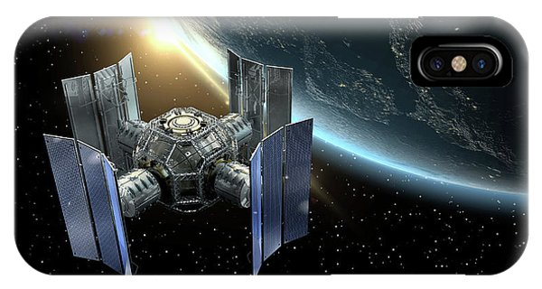 International Space Station iPhone Case - 3d Rendering Of A Satellite by Daniela Mangiuca