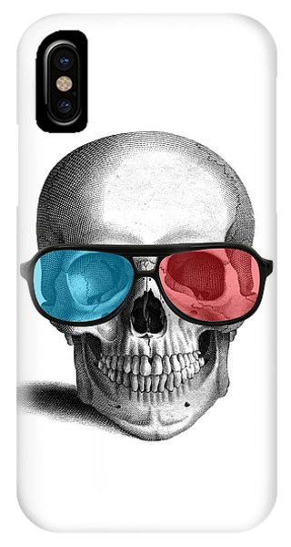 Anatomy iPhone Case - skull with 3D glasses by Madame Memento
