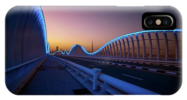 Amazing Night Dubai Vip Bridge With Beautiful Sunset. Private Ro IPhone Case