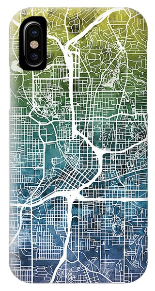 Watercolor iPhone Case - Atlanta Georgia City Map by Michael Tompsett