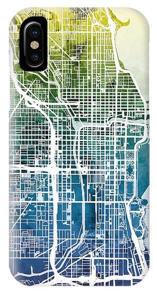 Illinois iPhone Case - Chicago City Street Map by Michael Tompsett