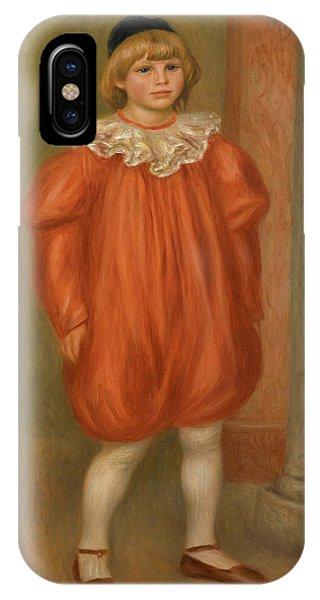 Child Actress iPhone Case - Claude Renoir In Clown Costume by Pierre-Auguste Renoir