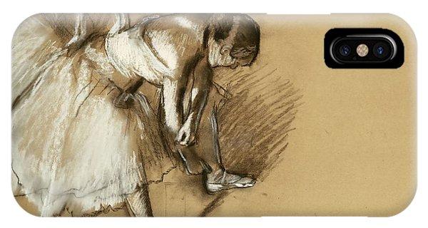 French Artist iPhone Case - Dancer Adjusting Her Shoe by Edgar Degas