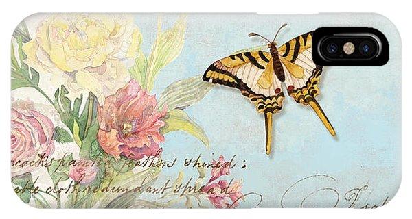 Fleurs De Pivoine - Watercolor W Butterflies In A French Vintage Wallpaper Style IPhone Case