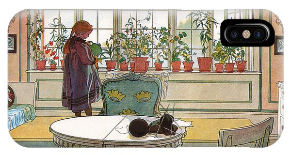 Interior iPhone Case - Flowers On The Windowsill by Carl Larsson
