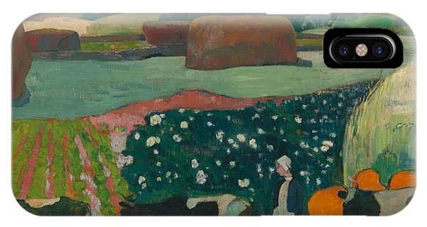 French Painter iPhone Case - Haystacks In Brittany by Paul Gauguin