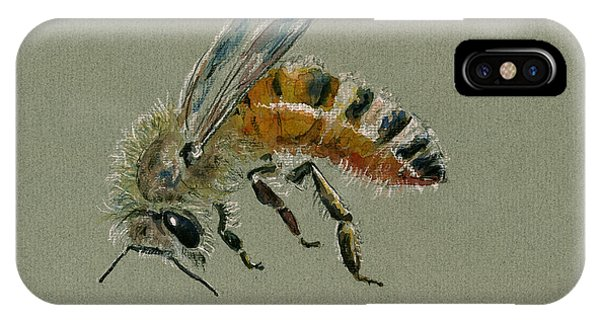 Bee iPhone X Case - Honey Bee Watercolor Painting by Juan  Bosco