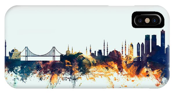 Turkey iPhone Case - Istanbul Turkey Skyline by Michael Tompsett