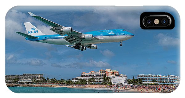 K L M Landing At St. Maarten IPhone Case