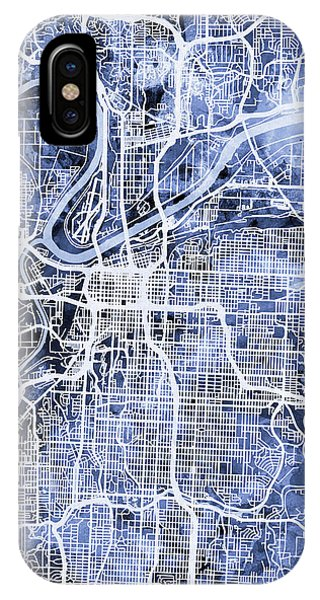 Missouri iPhone Case - Kansas City Missouri City Map by Michael Tompsett