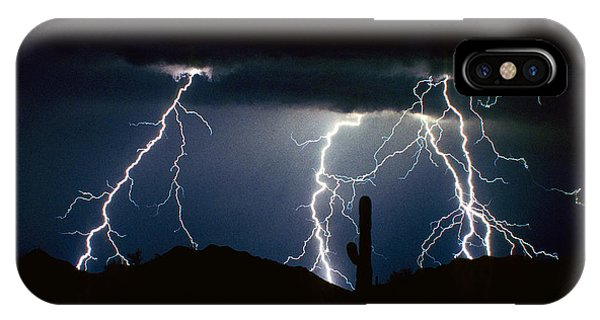 4 Lightning Bolts Fine Art Photography Print IPhone Case