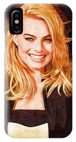 Orlando Bloom iPhone Case - Margot Robbie Painting by Elizabeth Simon