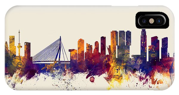 Holland iPhone Case - Rotterdam The Netherlands Skyline by Michael Tompsett
