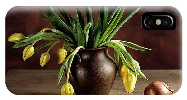 Potato iPhone Case - Still Life With Tulips by Nailia Schwarz
