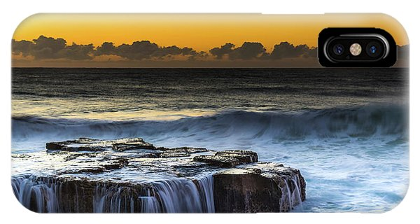 Sunrise Seascape With Cascades Over The Rock Ledge IPhone Case