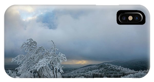 Typical Snowy Landscape In Ore Mountains, Czech Republic. IPhone Case