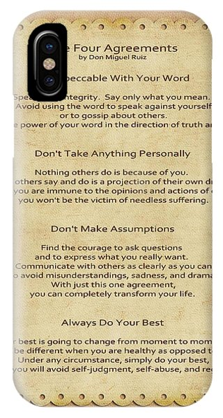 Spirituality iPhone Case - 41- The Four Agreements by Joseph Keane