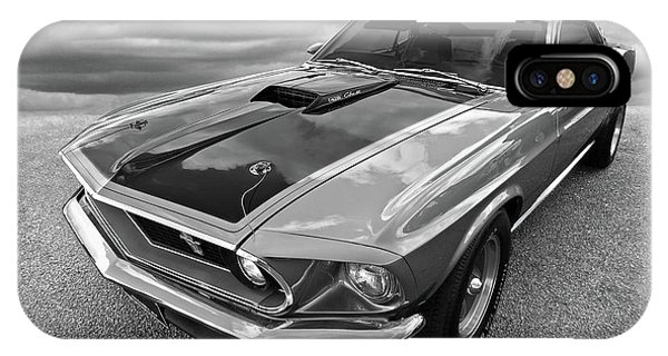 428 Cobra Jet Mach1 Ford Mustang 1969 In Black And White IPhone Case