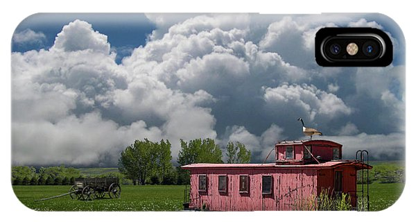 Red Caboose iPhone Case - 4355 by Peter Holme III