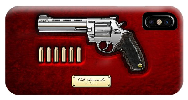 Patriotic iPhone Case - .44 Magnum Colt Anaconda On Red Velvet  by Serge Averbukh