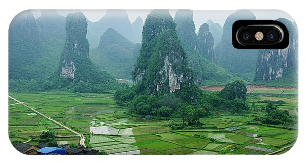 The Beautiful Karst Rural Scenery In Spring IPhone Case