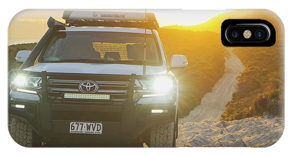 4wd Car Explores Sand Track In Early Morning Light IPhone Case