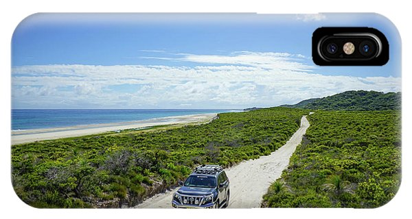 4wd Car Exploring Remote Track On Sand Island IPhone Case