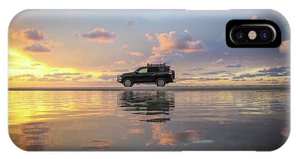 4wd Vehicle And Stunning Sunset Reflections On Beach IPhone Case