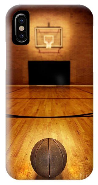 Wood Floor iPhone Case - Basketball And Basketball Court by Lane Erickson