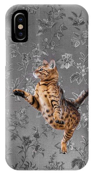 Bengal Cat Jumping IPhone Case