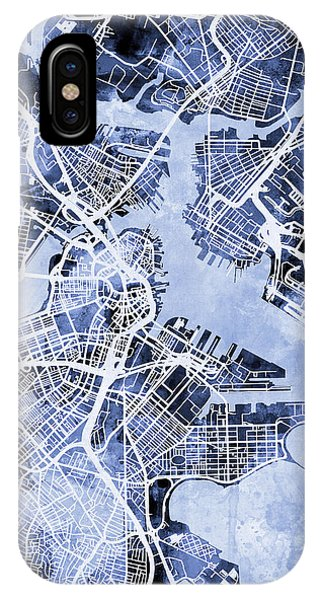 Boston iPhone Case - Boston Massachusetts Street Map by Michael Tompsett