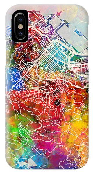 Town iPhone Case - Cape Town South Africa City Street Map by Michael Tompsett