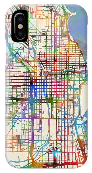 Map iPhone Case - Chicago City Street Map by Michael Tompsett