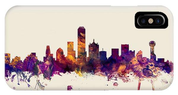 Dallas iPhone Case - Dallas Texas Skyline by Michael Tompsett