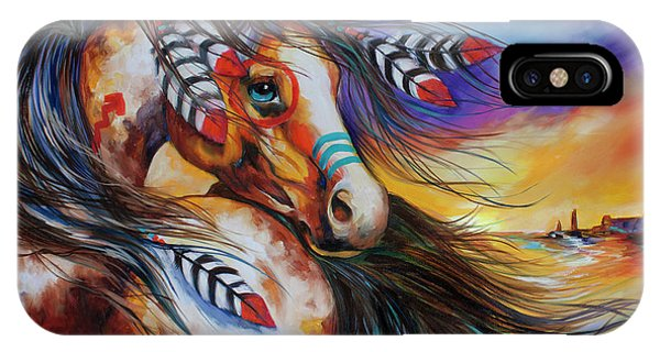 5 Feathers Indian War Horse IPhone Case