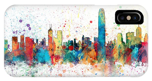 Hong Kong iPhone Case - Hong Kong Skyline by Michael Tompsett