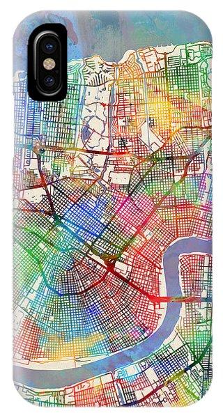 Street iPhone Case - New Orleans Street Map by Michael Tompsett