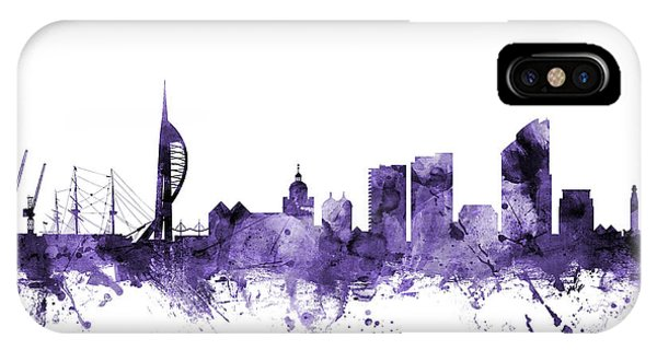 Violet iPhone Case - Portsmouth England Skyline by Michael Tompsett