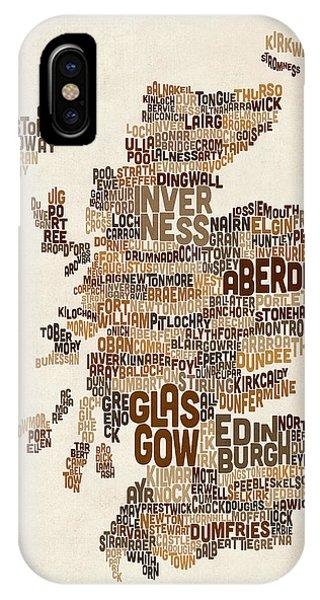 Scotland iPhone Case - Scotland Typography Text Map by Michael Tompsett