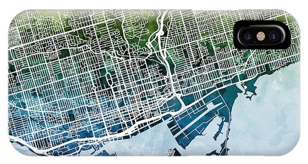 Street iPhone Case - Toronto Street Map by Michael Tompsett