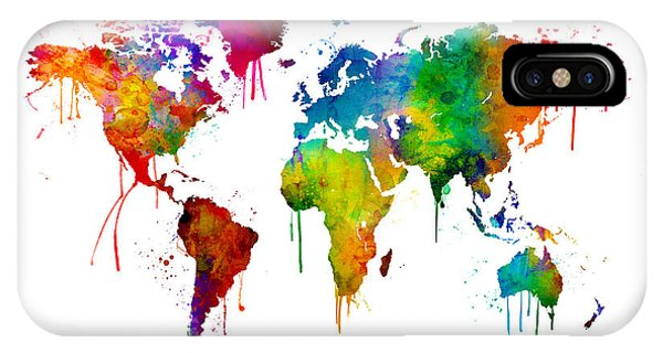 Bright iPhone Case - Watercolor Map Of The World Map by Michael Tompsett