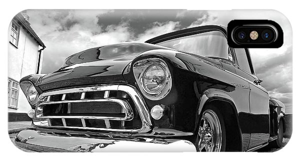 57 Stepside Chevy In Black And White IPhone Case