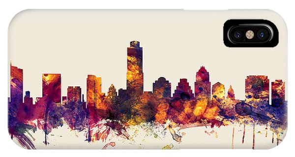 Austin Skyline iPhone Case - Austin Texas Skyline by Michael Tompsett