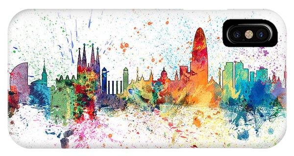 Spain iPhone Case - Barcelona Spain Skyline by Michael Tompsett